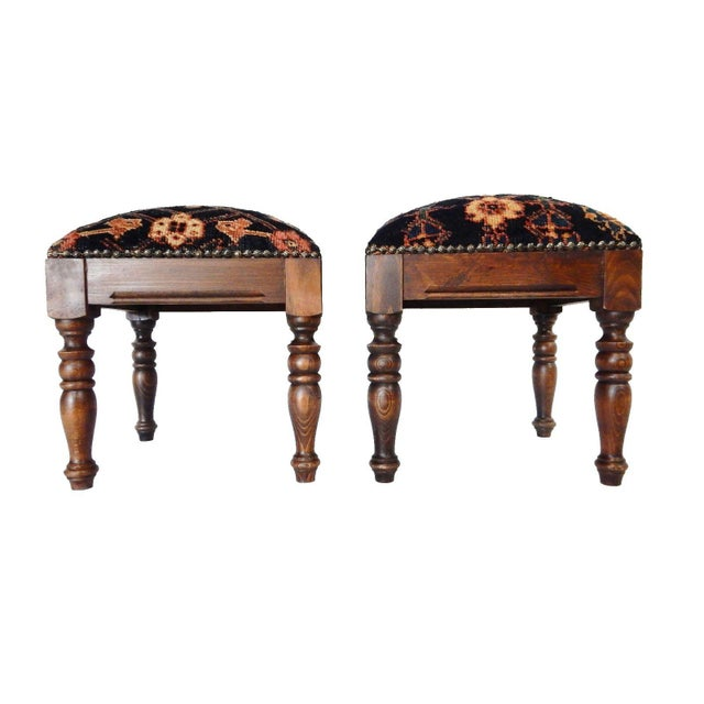 Antique Hamadan Rug Wood Stools - a Pair - Image 5 of 7