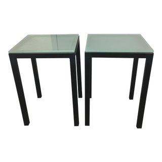 Custom Glass Topped Metal Side Tables - A Pair