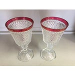 Image of Mid Century Vintage Cranberry Pressed Glass Vases