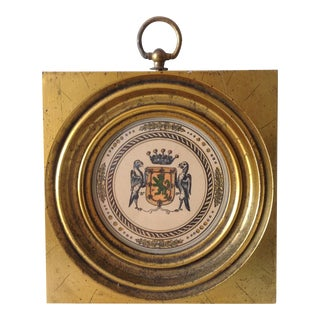 Gilt Gold Leaf Framed Crest With Brass Loop