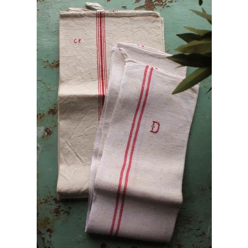 Image of Vintage French Linen Hand Towels - Pair