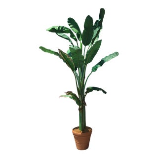 Vintage used san francisco planters chairish for Artificial banana leaves decoration