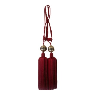 Red Moroccan Silk Tassels - A Pair