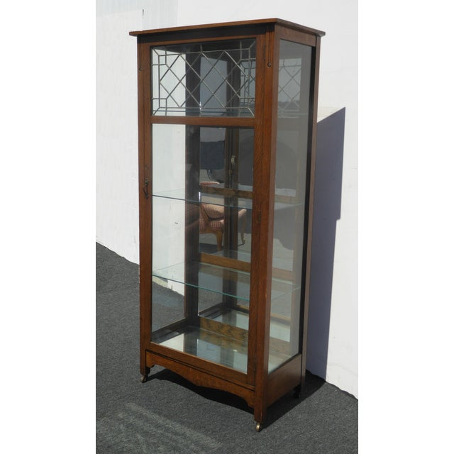 Vintage french country oak wood glass curio display