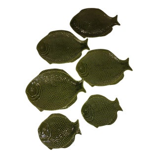Sarreguemines Style Fish-Shaped Majolica Plates - Set of 6
