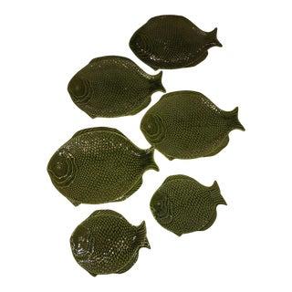 Sarreguemines Style Fish-Shaped Majolica Plates - Set of 6