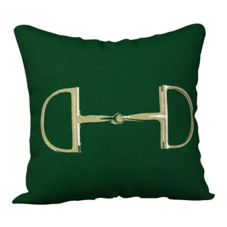 """Snaffle Horse"" Hunter Green Velvet with Gold Bit Pillow"