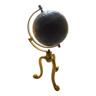 Mid Century Leather and Brass Abstract Terrestrial Globe