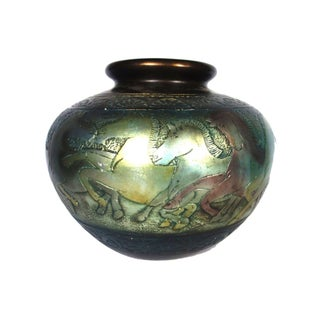 Incised Brass Pot With Horses