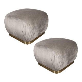 Mid-Century Modern Brass & Platinum Velvet Soufflé Poufs, Style of Karl Springer