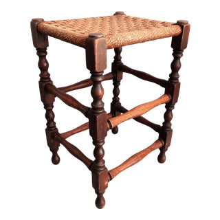 Antique English Oak & Rope Footstool