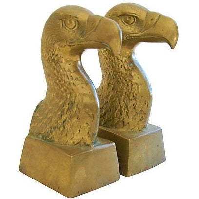 Image of Vintage Patriotic Brass Bald Eagle Bookends - A Pair