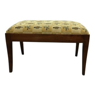 Vintage Carved Wood Needlepoint Bench