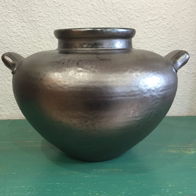 Image of Ceramic Vessel With Metallic Pewter Glaze