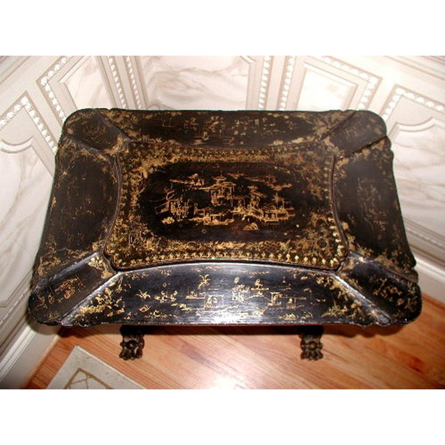 Antique English 1850s Chinoiserie Sewing Chest - Image 3 of 11