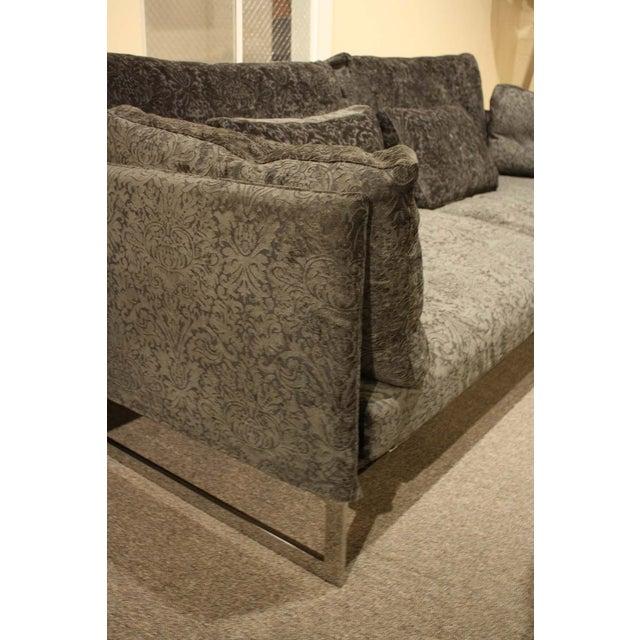 Image of Saba Livingston Cut Velvet Blue Sofa