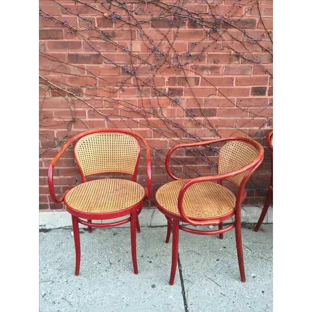 Thonet Attri. Rattan Dining Chairs - Set of 3 - Image 3 of 4