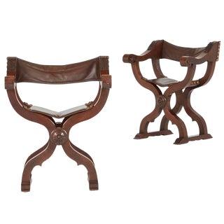 Circa 1880 Renaissance Revival Walnut Savonarola Folding Chairs - A Pair