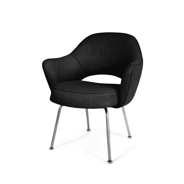 Saarinen Executive Armchairs in Black Woven-Microfiber, Set of Six - Image 2 of 5
