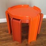 Image of Kartell Orange Stacking Tables - A Pair