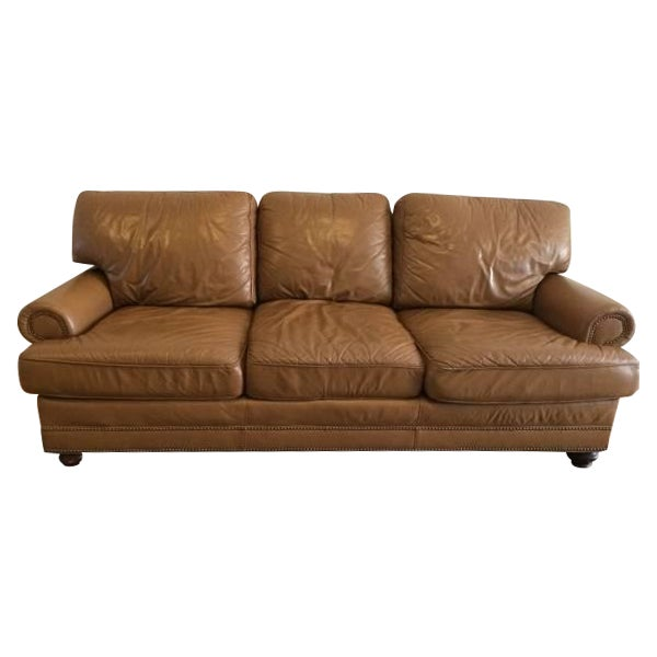 Image of Caramel Leather Sofa With Brass Studs
