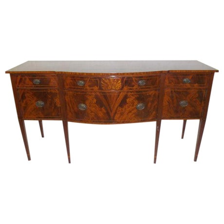 Antique Federal Serpentine Flame Mahogany Buffet - Image 1 of 11