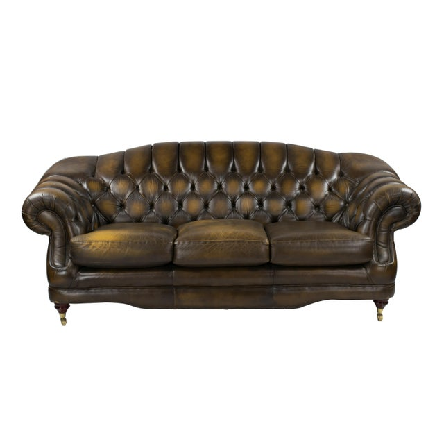 1970's English Leather Chesterfield Sofa - Image 1 of 3