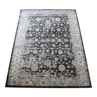 "Vintage Style Distressed Gray Rug- 5'3"" x 7'7"""