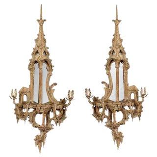 Pair o Neo Classical Chinoiserie Style Carved and Painted Mirrored Wall Sconces