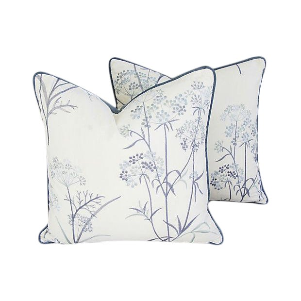 Designer Embroidered Blue Flower Pillows - A Pair - Image 1 of 8