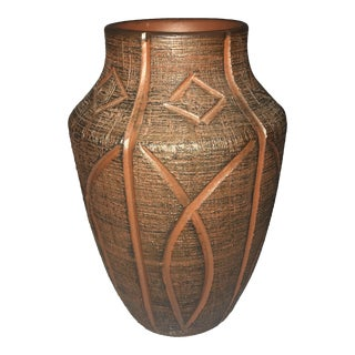 Red African Clay Geometric Vase