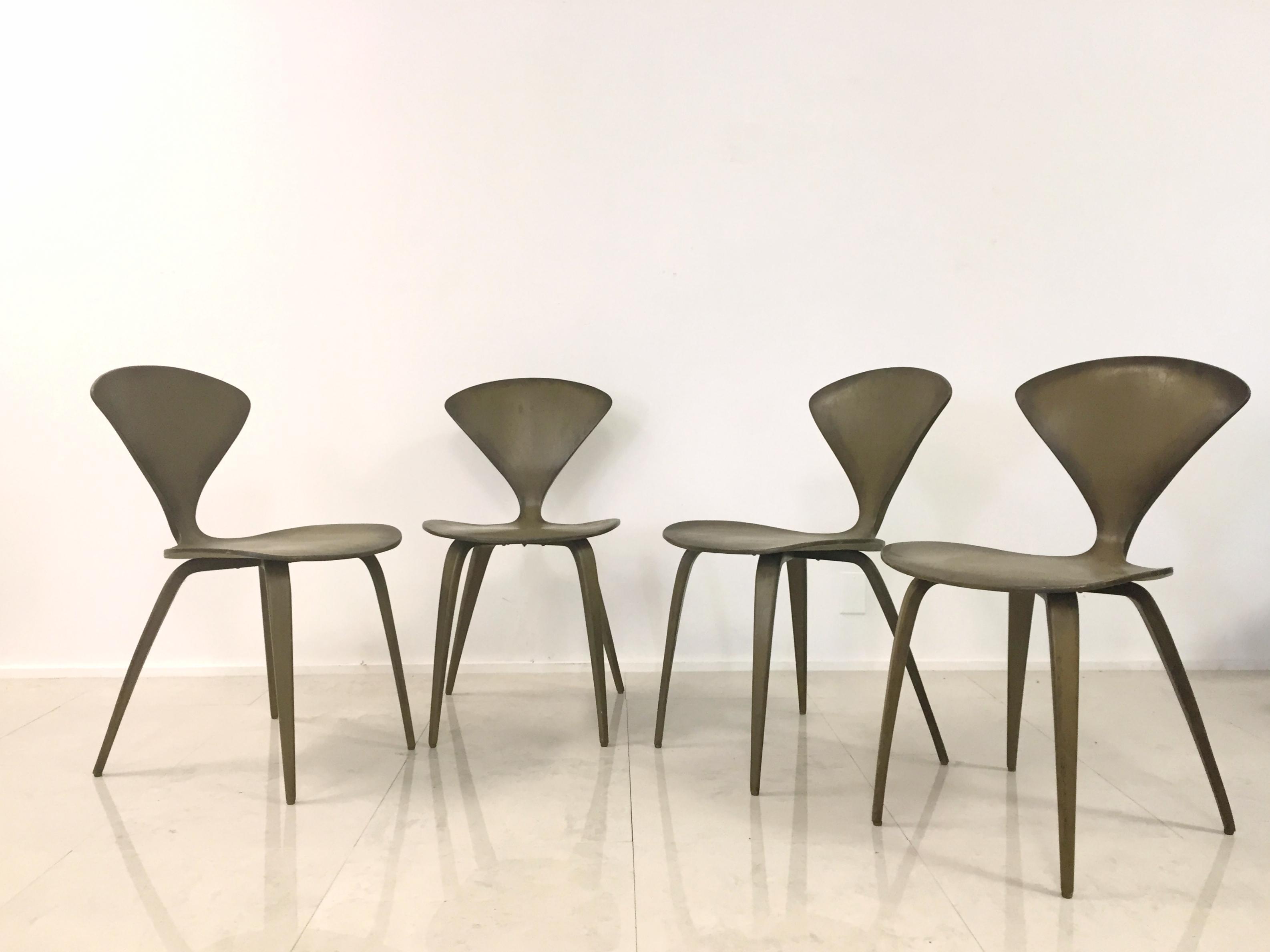norman cherner for plycraft vintage chairs set 4 image 5 of 10