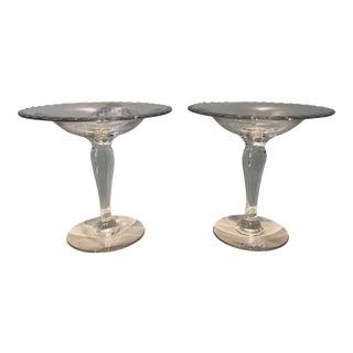 Clear Glass Pedestal Dishes - A Pair