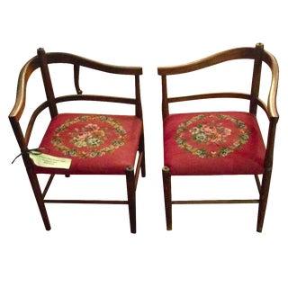 Walnut Shin Fireside Needlepoint Chairs - A Pair