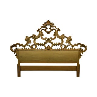 1950s Italian Gilt Wood Baroque Carved Queen Size Headboard