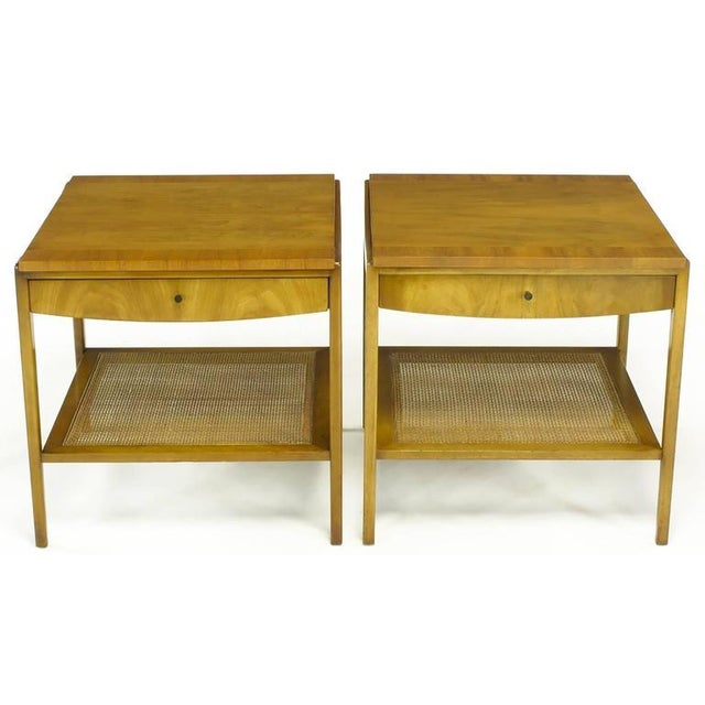 Image of Pair Widdicomb Bleached Walnut & Cane Single Drawer End Tables