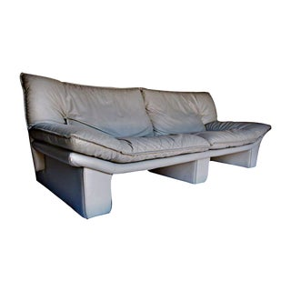 Vintage Italian Leather Sofa by Nicoletti Salotti