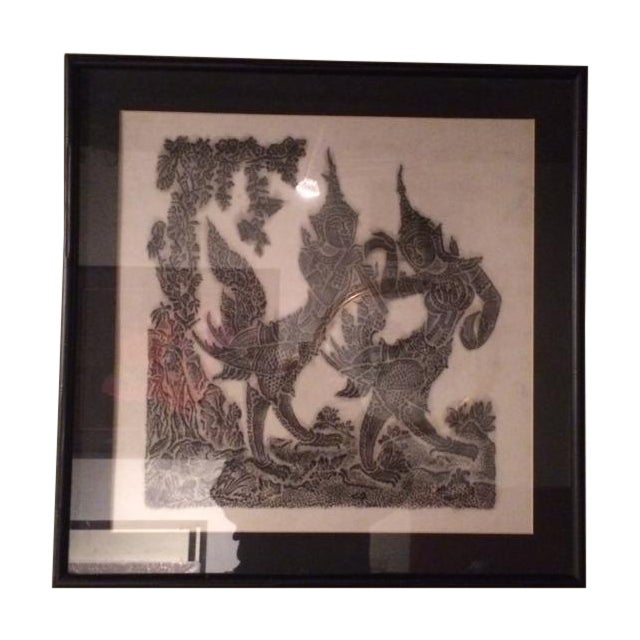 Image of Thai Temple Rubbings - A Pair