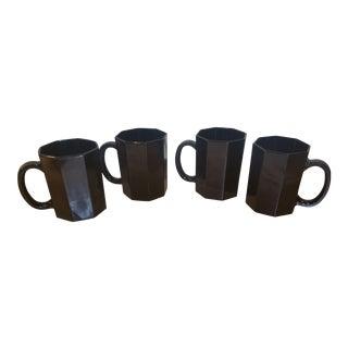 French Black Octagonal Coffee Mugs - Set of 4