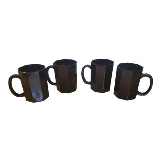 French Black Octagonal Coffee Mugs - Set of 4