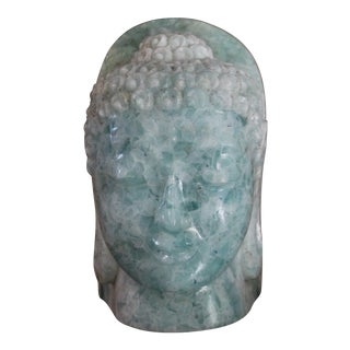 Vintage Aqua Recycled Folded Glass Buddha Head
