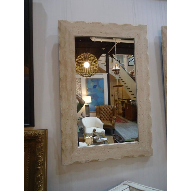 Modern Travertine Mirrors - A Pair - Image 2 of 5