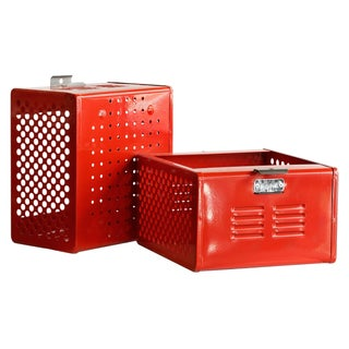 1950s Reclaimed Locker Basket Refinished in Fire Engine Red