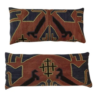 Kazak Flat Weave Kilim Rug Pillows - A Pair