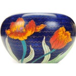Image of Japanese Antique Blue Cloisonne Vase