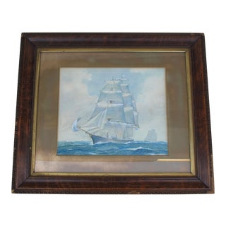Framed Ship Watercolor Painting
