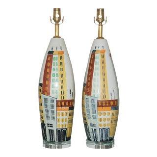 Bitossi Italian Ceramic Cityscape Lamps