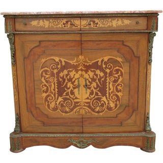 French Antique Marble Top Walnut Console Server