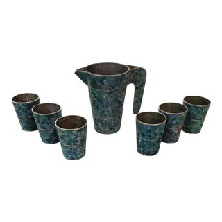 Mexican Modernist Pitcher and Cups - Set of 7