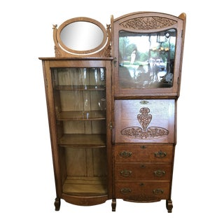 Antique Victorian Solid Oak Bookcase